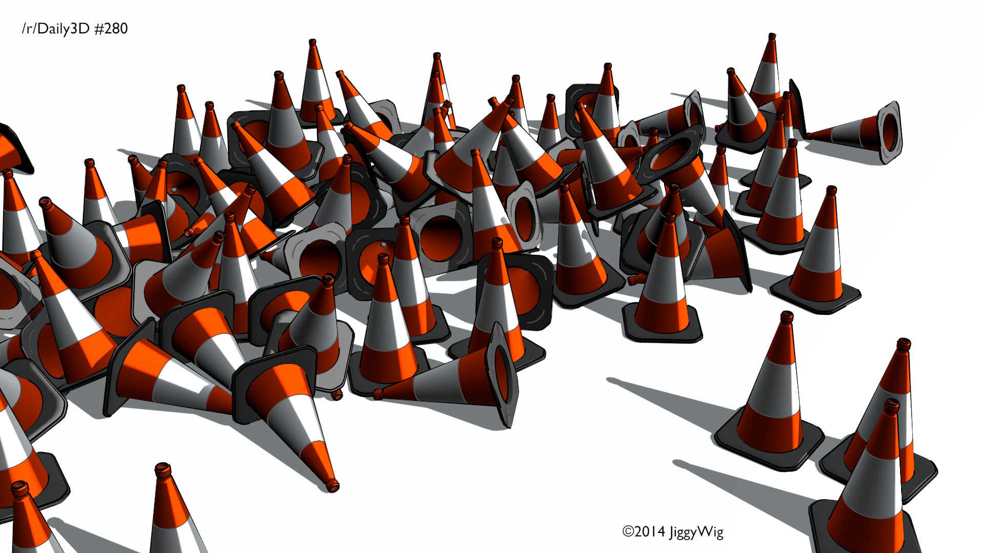 #280 - Toon rendered Traffic Cones.